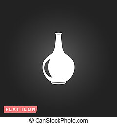Amphora flat icon - Amphora White flat simple vector icon on...