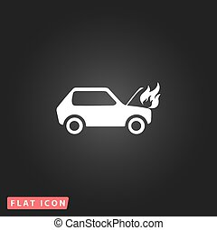 car fired flat icon - Car fired White flat simple vector...