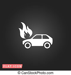 Car fire icon - Car fire White flat simple vector icon on...