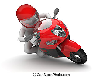 Biker close-up - 3d isolated on white background characters...