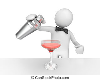 Barman pouring your pink cocktail - 3d isolated on white...