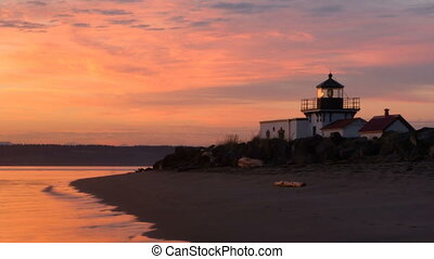 Bright Orange Sunrise Puget Sound Point No Point Lighthouse...