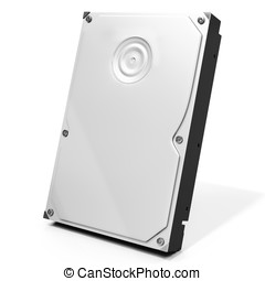 3d HDD hard drive disk on white background