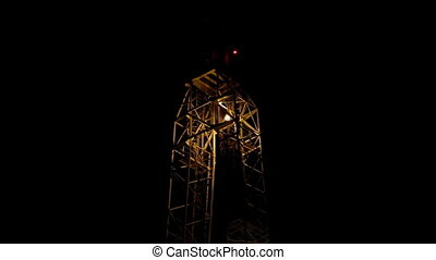 Top of Drilling rig in Night - Oil Drilling rig in work
