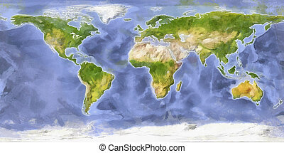 World map in water colors - World map in water color style...
