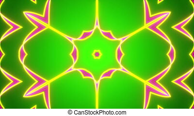 green abstract background, kaleidoscope light, loop