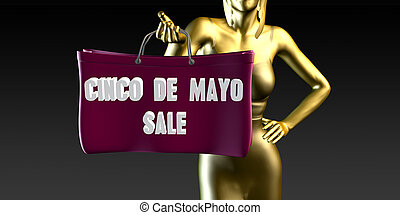 Cinco de Mayo Sale with a Lady Holding Shopping Bags