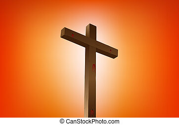 resurrection - empty cross with blood stains vector...