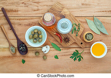 Assortment of herbs rosemary ,thyme,sage, mint,bay leaves ,...