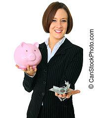 Female Caucasian Hold Money On Focus