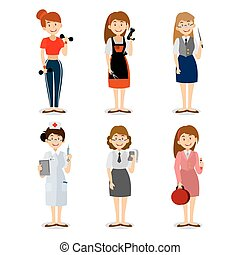 Set of colorful profession woman flat style icons teacher, fitness trainer, the nurse, the seller of cosmetics, hairdresser, accountant,  Vector characters of different professions