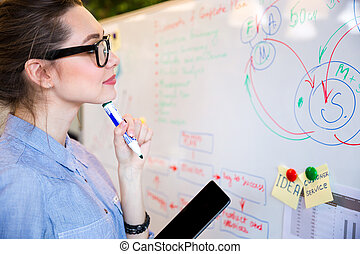 Busineswoman reading something on whiteboard - Young...
