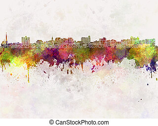 South Portland in watercolor - South Portland skyline in...