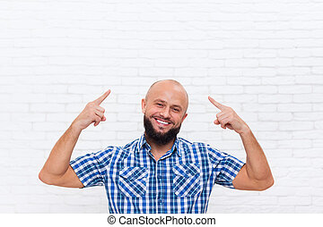 Casual Bald Bearded Business Man Smiling Point Fingers Up...