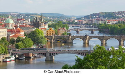 """prague view, bridges over danube river, czech republic,..."