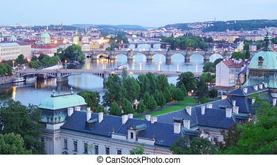 quot;prague view, bridges over danube river, czech republic,...
