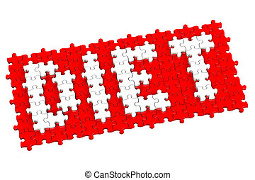 Red puzzle with word diet, isolated on white background 3D...