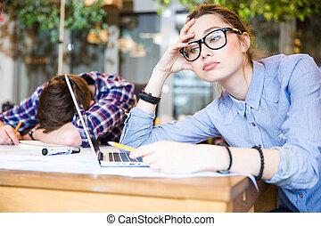 Overworked business people sitting and sleeping - Sleepy...