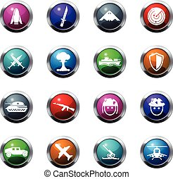 Military and war icons - Military and war vector icons for...