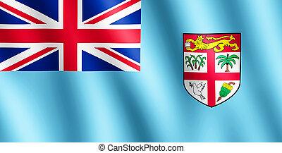bandiera, di, Figi, ondeggiare, in, il, vento,