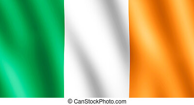 Flag of Ireland waving in the wind giving an undulating...
