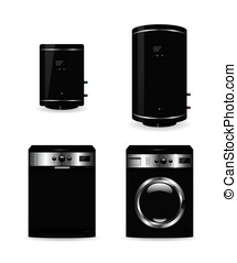 Set of black household appliances boiler and washing machine...