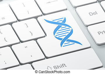 Healthcare concept: DNA on computer keyboard background