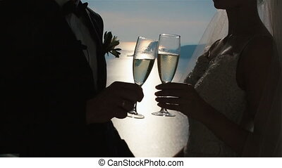 Happy fabulous couple knocking together champagne glasses during a toast at wedding aisle tent with sea background