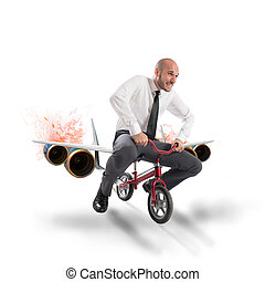 Aircraft bike - Businessman with bicycle with the aircraft...