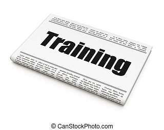 Education concept: newspaper headline Training