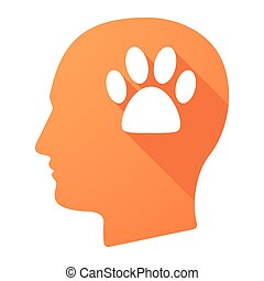 Male head icon with an animal footprint