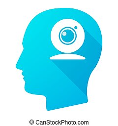 Male head icon with a web cam - Illustration of a male head...