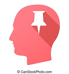 Male head icon with a push pin