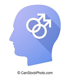 Male head icon with a gay sign