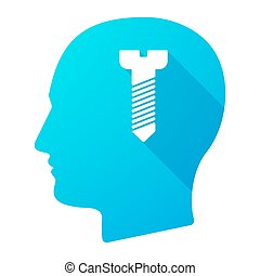 Male head icon with a screw