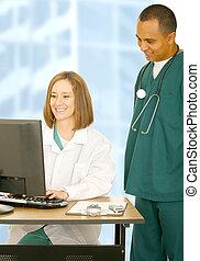 médico, computador, trabalhando, equipe