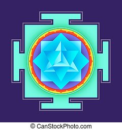 colored merkaba yantra illustration - vector colored...