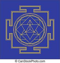 monocrome outline merkaba yantra illustration - vector gold...