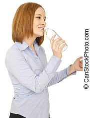 Pretty Woman Drinking Water - shot of woman in casual dress...
