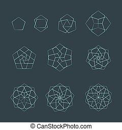 pentagon contour various sacred geometry set