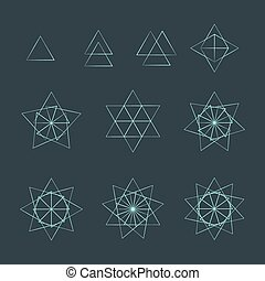 triangle contour various sacred geometry set - vector trigon...
