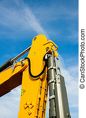 Hydraulic excavator arm - industrial equipment as seen on...