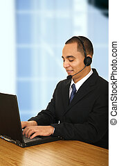 Happy Customer Representative Typing - customer...