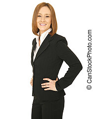 Successful Business Woman Smiling - isolated shot of young...
