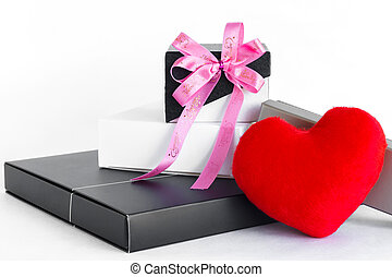 Red heart with gift box