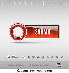 Red plastic button on the gray background Vector design...