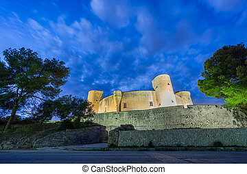 Bellver Castle at sunset in Majorca, wide angle - Wide angle...