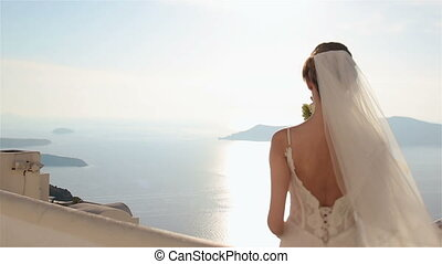 Gorgeous brunette bride posing while looking at sea and mountains