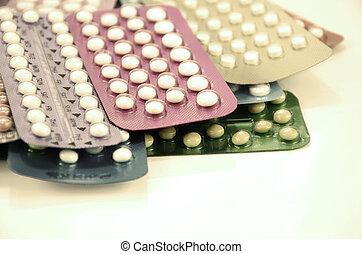 píldora, anticonceptivo, tiras,  oral, colorido