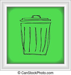 Simple doodle of a rubbish bin - Simple hand drawn doodle of...